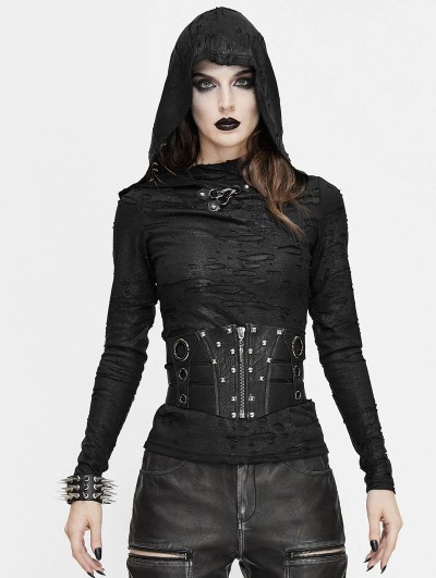 Devil Fashion Black Gothic Punk Rivet Wide Waistband for Women