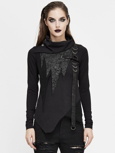 Devil Fashion Black Gothic Punk High Neck Long Sleeve Irregular T-Shirt for Women