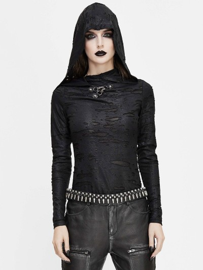 Devil Fashion Black Gothic Punk Long Sleeve Hooded T-Shirt for Women