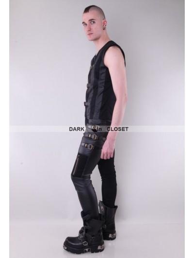 Pentagramme Black Buckle Belt Gothic Pants for Men