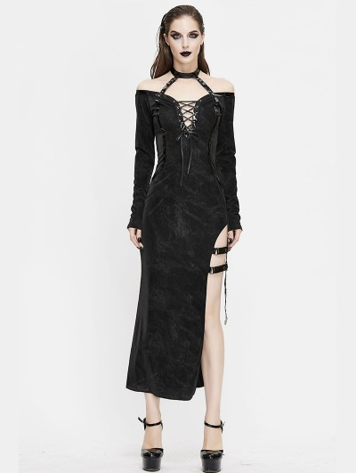 Devil Fashion Black Sexy Gothic Off-the-Shoulder Split Long Sleeve Asymmetric Dress