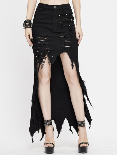 Devil Fashion Black Fashion Gothic Punk Irregular High-Low Casual Denim Skirt