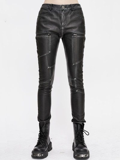 Devil Fashion Black Gothic Punk PU Leather Long Slim Pants for Women