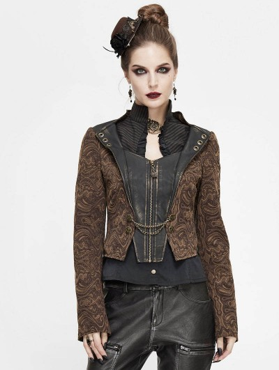 Devil Fashion Brown Vintage Steampunk Jacquard Short Jacket for Women