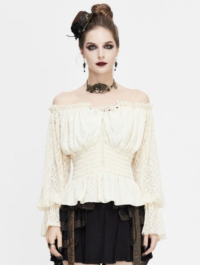 Devil Fashion Ivory Vintage Steampunk Lace Long Sleeve Top for Women