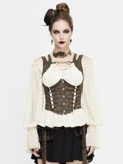 Devil Fashion Brown Vintage Steampunk Do Old Vest for Women