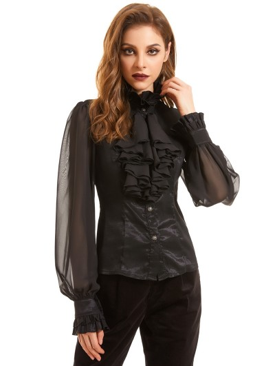 Pentagramme Black Vintage Gothic Long Sleeve Daily Wear Blouse for Women