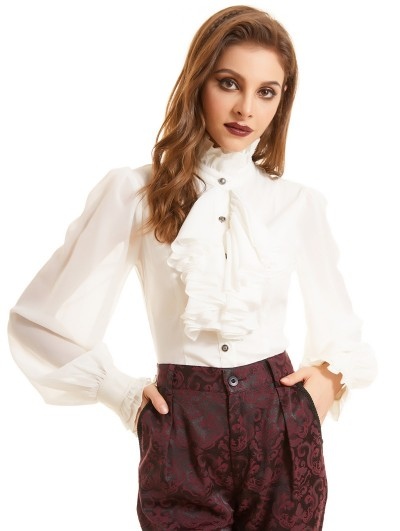 Pentagramme White Vintage Gothic Long Sleeve Daily Wear Blouse for Women