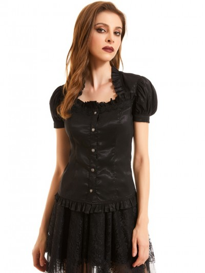 Pentagramme Black Gothic Short Puff Sleeve Casual Shirt for Women