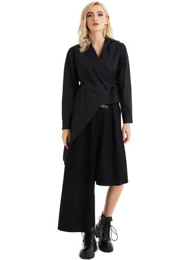 Pentagramme Black Alternative Long Sleeve Gothic Irregular Blouse for Women
