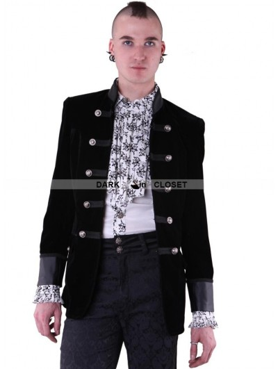Pentagramme Black Double-Breasted Long Sleeves Gothic Jacket for Men