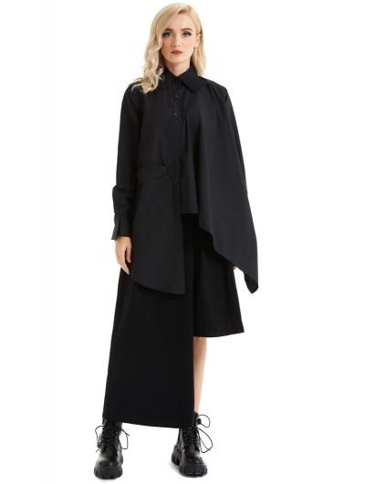 Pentagramme Black Alternative Long Sleeve Gothic Asymmetrical Blouse for Women