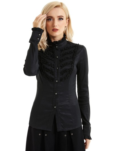 Pentagramme Black Gothic Long Sleeve Daily Wear Blouse for Women