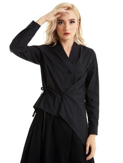 Pentagramme Black Alternative Long Sleeve Irregular Gothic Blouse for Women