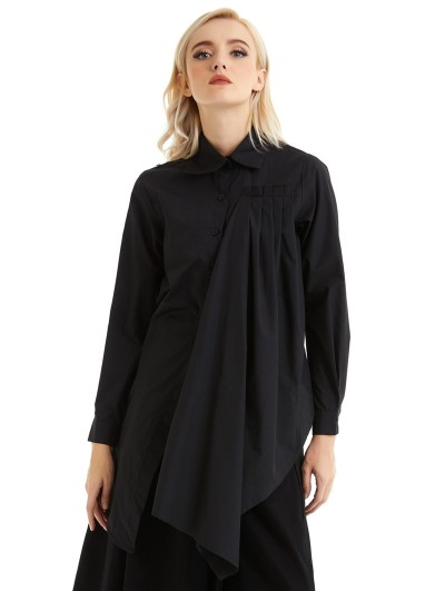 Pentagramme Black Gothic Irregular Long Sleeve Daily Wear Blouse for Women