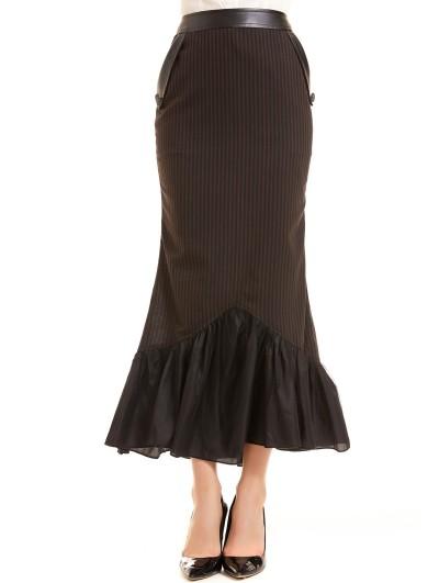Pentagramme Brown Stripe Vintage Steampunk Long Fishtail Skirt