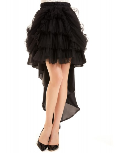 Pentagramme Tulle and Chiffon Black Gothic High-Low Skirt