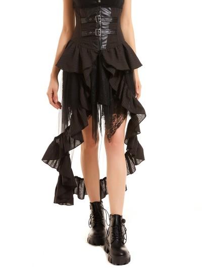 Pentagramme Brown Stripe Steampunk High-Low Skirt