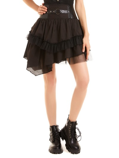 Pentagramme Brown Stripe Vintage Steampunk Irregular Short Skirt