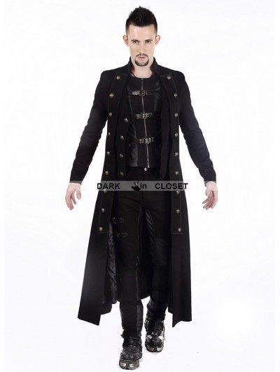 Pentagramme Black Double-Breasted Long Gothic Coat for Men