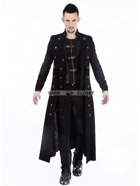 pentagramme black doublebreasted long gothic coat for men