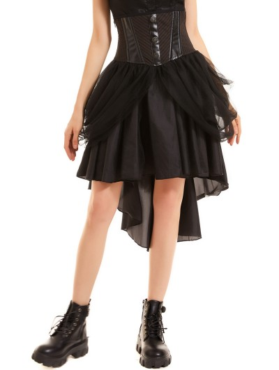 Pentagramme Black and Brown Vintage Steampunk High-Low Skirt