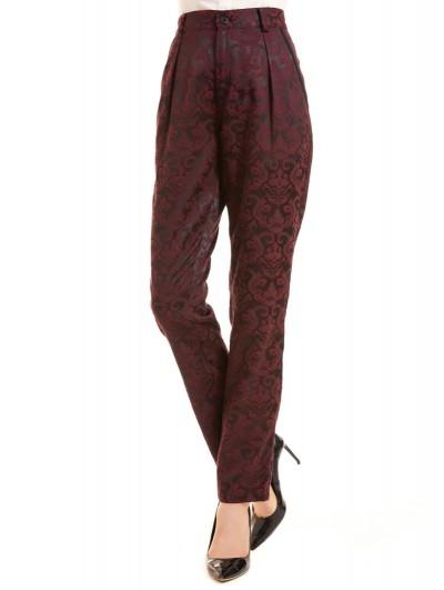 Pentagramme Red Vintage Gothic Jacquard Slim Fit Pants for Women