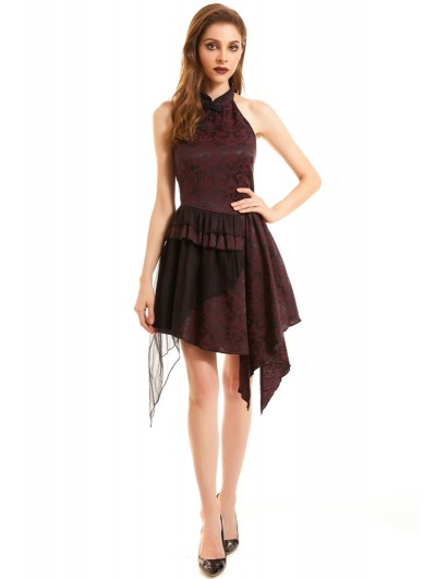 Pentagramme Black and Red Vintage Jacquard Gothic Sleeveless Asymmetric Party Dress