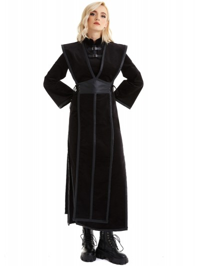 Pentagramme Black Retro Sexy Gothic Velvet Long Sleeve Fake Two-Pieces Dress