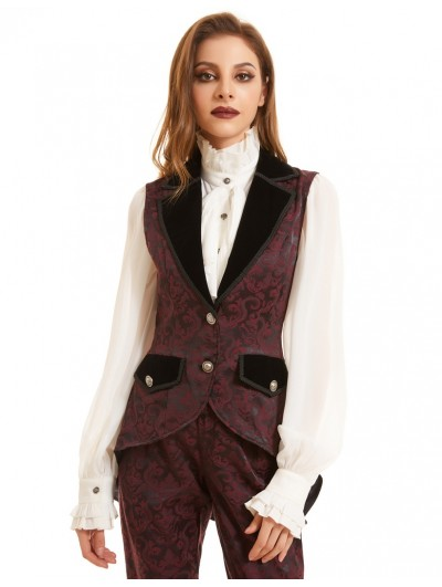 Pentagramme Black and Red Vintage Jacquard Gothic Tail Waistcoat for Women