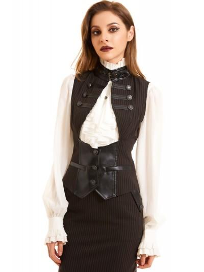 Pentagramme Coffee Stripe Vintage Steampunk Vest for Women