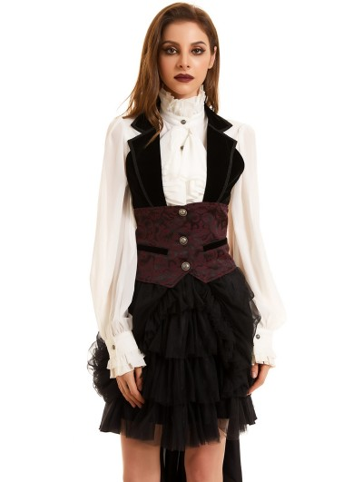 Pentagramme Black and Red Vintage Jacquard Gothic Vest for Women
