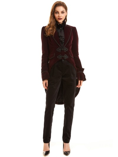 Pentagramme Red Vintage Gothic Velvet Swallow Tail Coat for Women