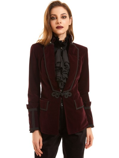 Pentagramme Red Vintage Gothic Velvet Short Coat for Women