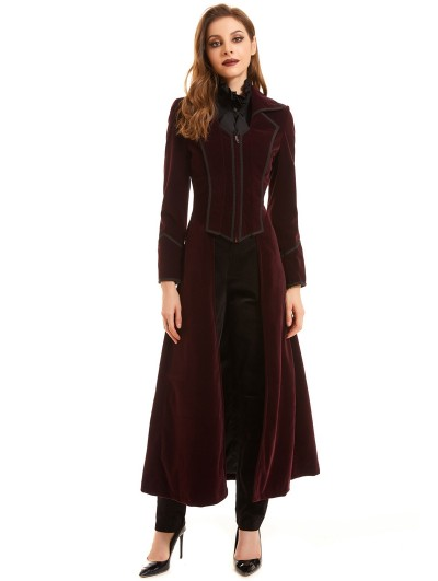 Pentagramme Red Vintage Gothic Velvet Long Tail Coat for Women