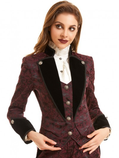 Pentagramme Red Vintage Jacquard Gothic Swallow Tail Coat for Women