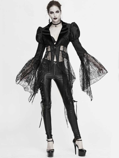 Devil Fashion Black Vintage Sexy Gothic Lace Long Sleeve Irregular Jacket for Women