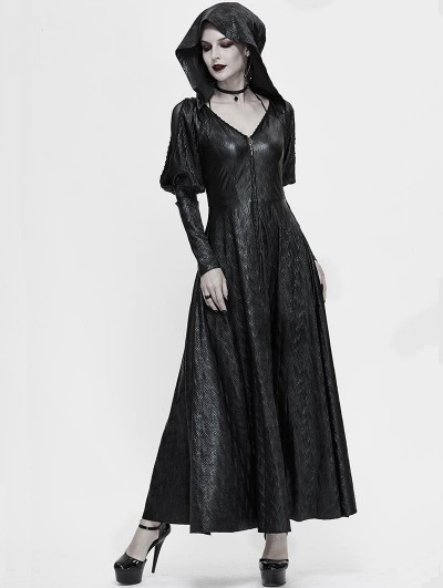 Devil Fashion Black Vintage Gothic Long Hooded Dress Coat for Women