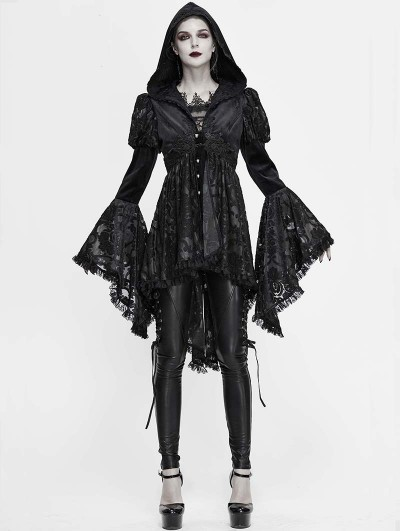 Devil Fashion Black Vintage Gothic Victorian Long Sleeve Hooded Tailcoat for Women