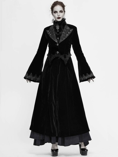 Devil Fashion Black Vintage Gothic Velvet Long Sleeve Dress Coat for Women
