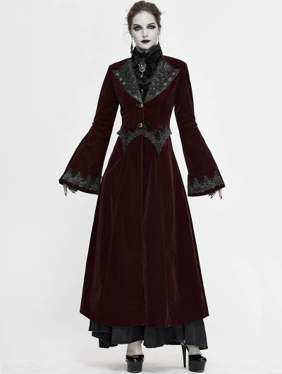 Devil Fashion Wine Red Vintage Gothic Velvet Long Sleeve Dress Coat for Women