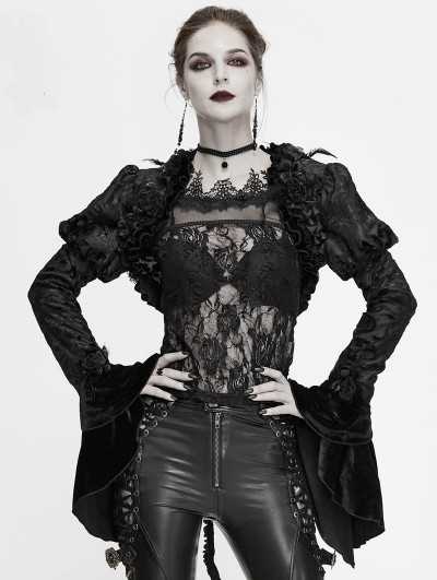 Devil Fashion Black Vintage Gothic Short Swallow Tail Coat for Women
