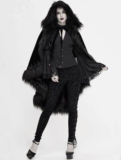 Devil Fashion Black Gothic Gorgeous Velvet Winter Warm Hooded Fur Cloak for Women