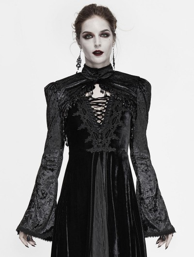 Devil Fashion Black Vintage Gothic Velvet Long Sleeve Short Cape for Women