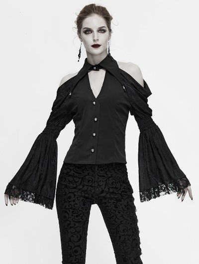 Devil Fashion Black Vintage Gothic Sexy Off-the-Shoulder Long Sleeve Blouse for Women