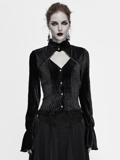 Devil Fashion Black Vintage Elegant Gothic Velvet Hollowed-out Long Sleeve Shirt for Women