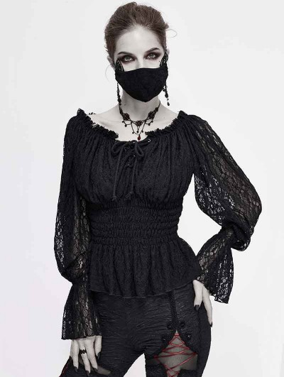Devil Fashion Black Gothic Off-the-Shoulder Lace Long Sleeve Casual Top for Women
