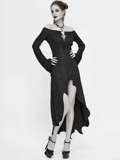 Devil Fashion Black Sexy Gothic Off-the-Shoulder Irregular Long Sleeve High-Low Dress