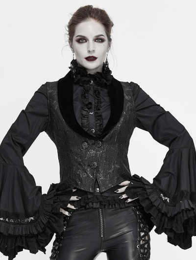 Devil Fashion Black Vintage Gothic Jacquard Waistcoat for Women