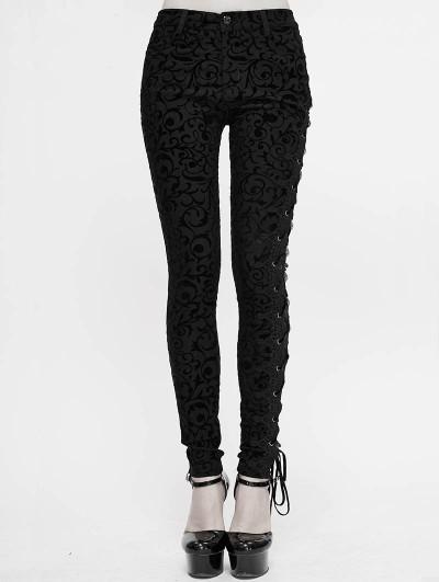 Devil Fashion Black Vintage Gothic Slim Long Trousers for Women
